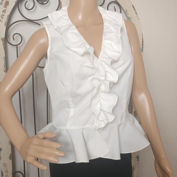 05153c61ea5e9b Ralph Lauren Tops | White Ruffle Blouse Size 8 Petite | Poshmark